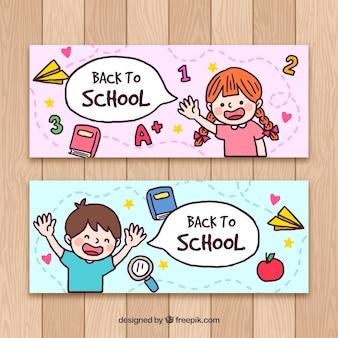 Carino torna a scuola banner in mano disegnato stile