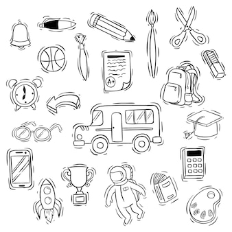 Carino torna alla collezione di icone di scuola con stile doodle
