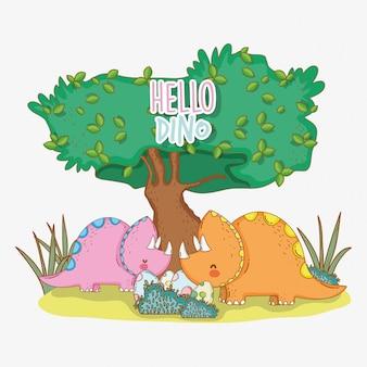 Carino triceratopo con uova di dino nei cespugli