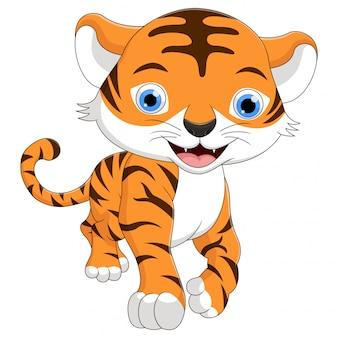 Carino un cartone animato tigrotto sta sorridendo