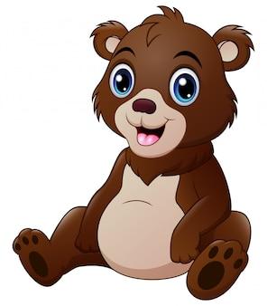 Carino un orso bambino isolato su bianco