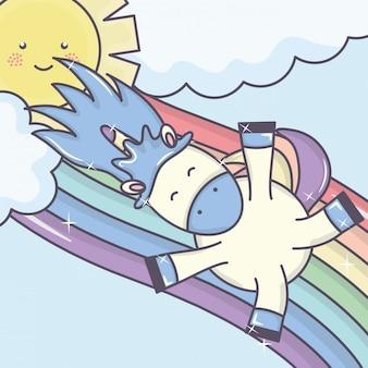 Carino unicorno adorabile con nuvole e arcobaleno
