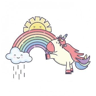 Carino unicorno adorabile con nuvole piovose e arcobaleno