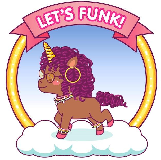 Carino unicorno afro con occhiali da sole