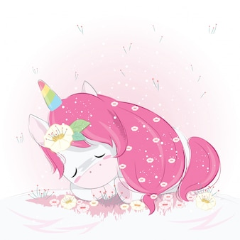 Carino unicorno che dorme a terra