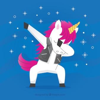 Carino unicorno che fa il movimento di tamponatura