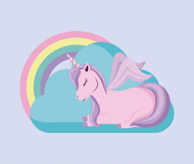 Carino unicorno con arcobaleno di fiaba
