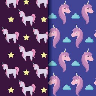 Carino unicorno di modelli di fiaba