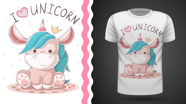 Carino unicorno di peluche. idea per la stampa t-shirt