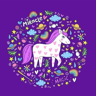 Carino unicorno disegnato a mano