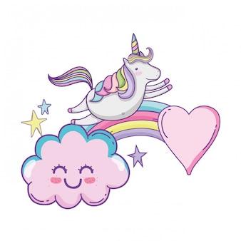 Carino unicorno e nuvole