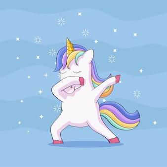 Carino unicorno facendo tamponando