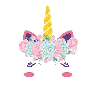 Carino unicorno floreale