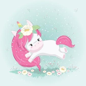 Carino unicorno giocando sul giardino