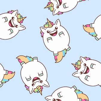 Carino unicorno grasso battenti senza cuciture