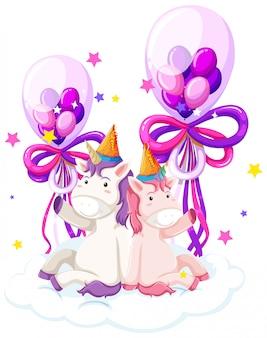 Carino unicorno in possesso di palloncino di compleanno