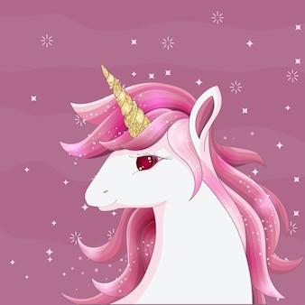 Carino unicorno rosa con corno glitterato