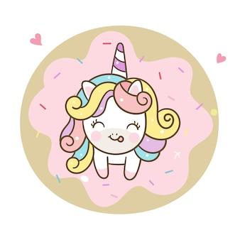 Carino unicorno vettoriale e ciambella pastello