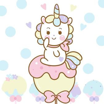 Carino unicorno vettoriale su caramelle pastello