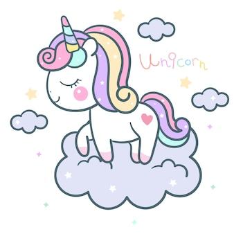 Carino unicorno vettoriale sul cielo