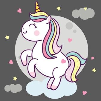 Carino unicorno vettoriale sulla nuvola e la luna