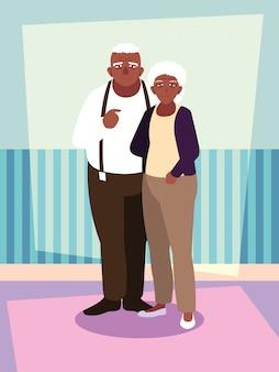 Carino vecchio personaggio afro avatar di coppia