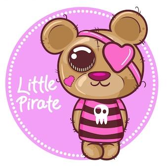 Carino vettore di piccolo orso pirata