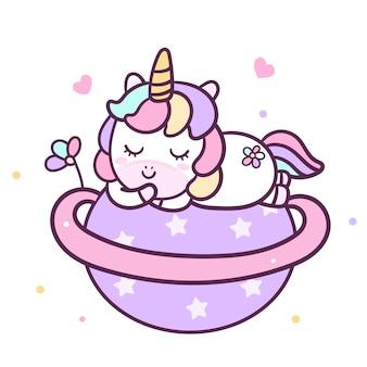 Carino vettore unicorno dormire sulla stella