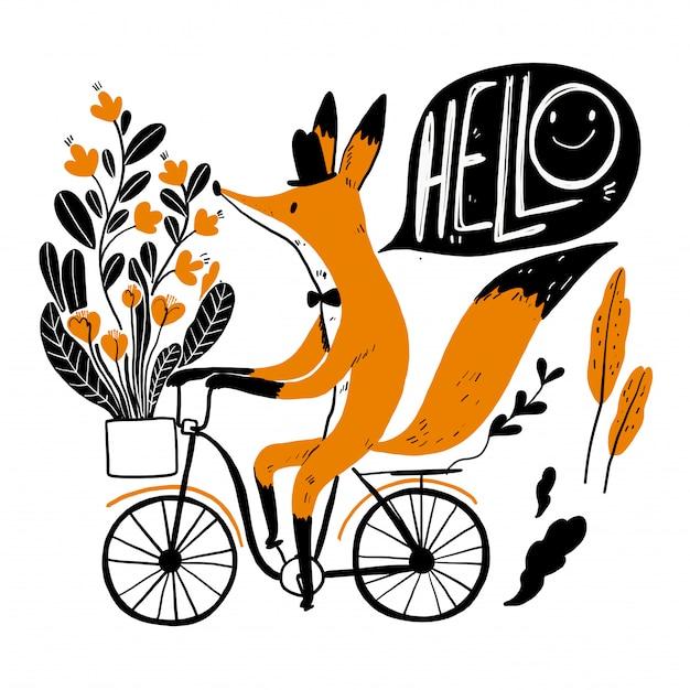 Carino volpe in sella a una bicicletta, raccolta di disegnato a mano.