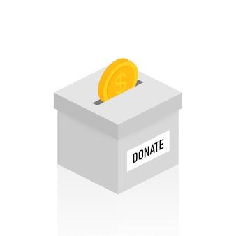Carità, concetto di donazione. dona denaro con scatola affari, finanza.