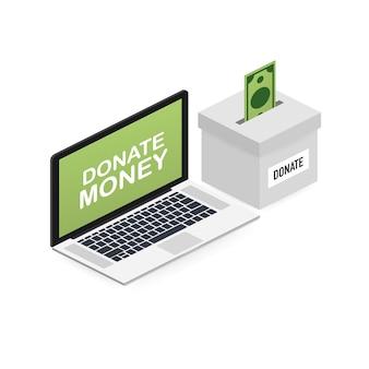 Carità, concetto di donazione. dona denaro con scatola affari, finanza