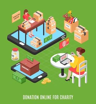 Carità isometrica con la giovane donna che fa donazione volontaria online attraverso l'illustrazione della fondazione di beneficenza