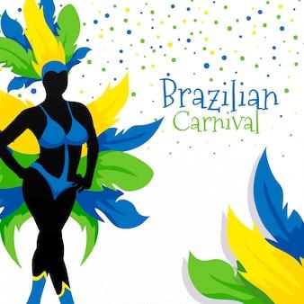 Carnevale brasiliano con piume colorate