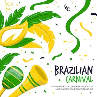 Carnevale brasiliano disegnato a mano colorato