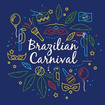 Carnevale brasiliano disegnato a mano di scarabocchi variopinti
