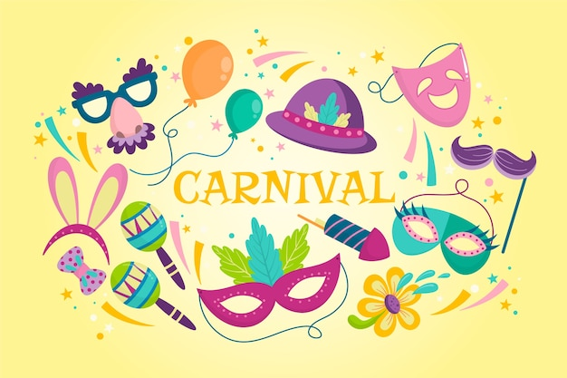 Carnevale colorato disegnato a mano