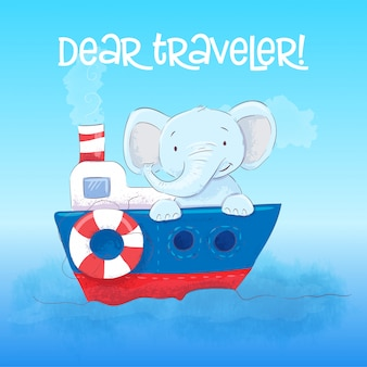 Caro viaggiatore il piccolo elefante sveglio galleggia su una barca. stile cartone animato vettore