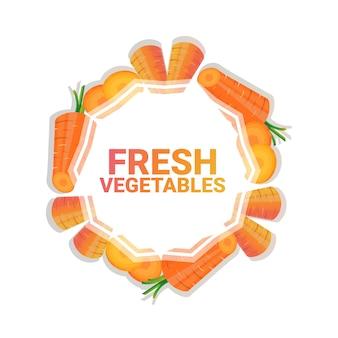 Carota verdura colorata cerchio copia spazio organico su sfondo bianco modello stile di vita sano o concetto dieta