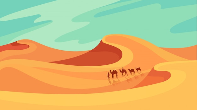 Carovana che attraversa il deserto. bellissimo paesaggio in stile cartone animato.