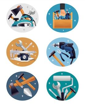 Carpenter tools composizioni di elementi realistici