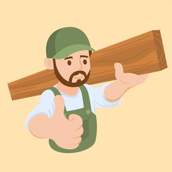 Carpentiere che porta un legno