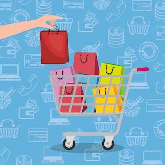 Carrello con icone set di marketing