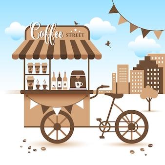 Carrello del mercato. prendi il caffè con te.