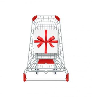 Carrello del supermercato, confezione regalo con nastro rosso e fiocco.