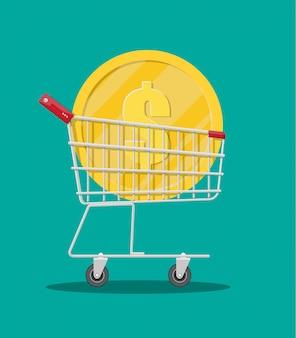 Carrello del supermercato in metallo con grande moneta d'oro
