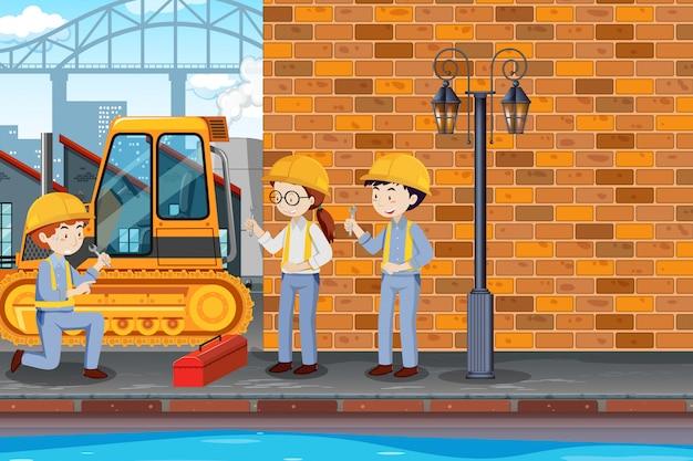 Carrello della riparazione dell'ingegnere all'illustrazione della fabbrica
