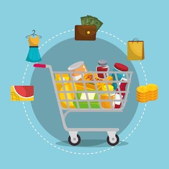 Carrello della spesa con set di marketing