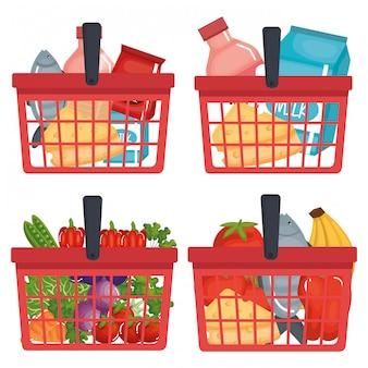 Carrello della spesa del supermercato con generi alimentari