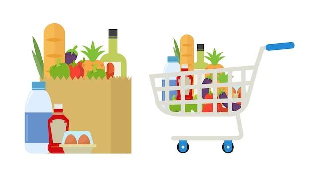 Carrello della spesa pieno di cibo, bevande e frutta all'interno