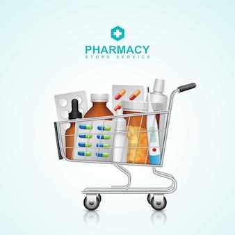 Carrello di acquisto di sanità e medico con le pillole della bottiglia
